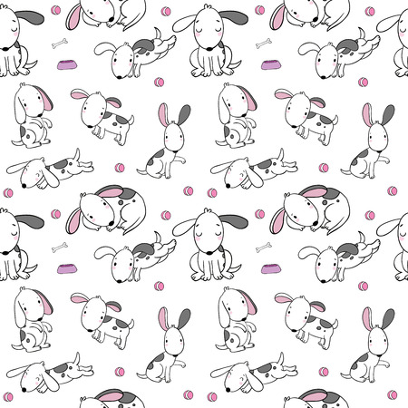 Seamless pattern with cartoon dogs. Funny puppies. Cute animals. Background for fabric, textile design or wallpaper.