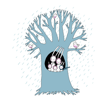 Magic Tree and cute rabbits. Vector illustration. Hand drawing isolated objects on white background.