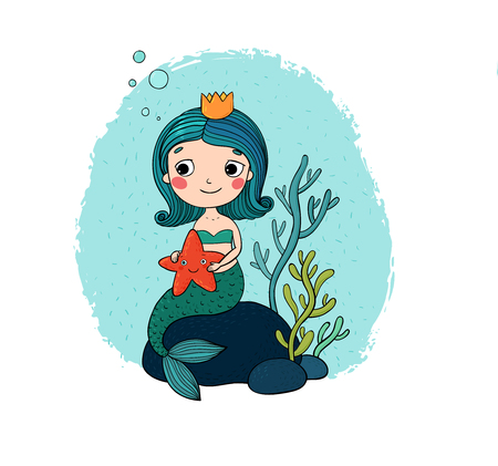Beautiful little mermaid with a starfish sitting on a stone. Siren. Sea theme. isolated objects on white background. Vector illustration. Stock Illustratie