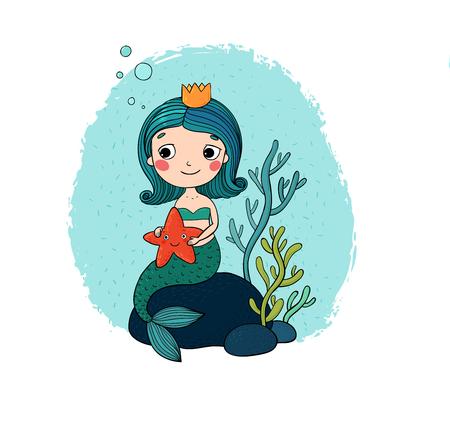 pequeña sirena hermosa con una estrella de mar sentado en una piedra. Sirena. el tema del mar. objetos aislados sobre fondo blanco. Ilustración del vector.