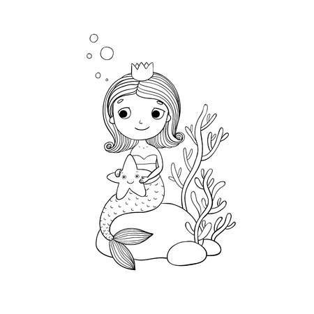 Beautiful little mermaid with a starfish sitting on a stone. Siren. Sea theme. isolated objects on white background. Vector illustration. Ilustração