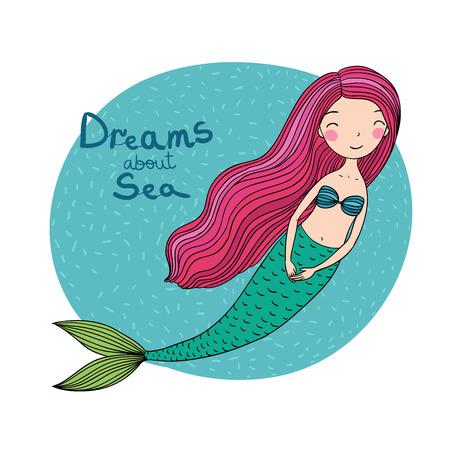 長い髪の美しいかわいい漫画人魚。サイレン。海のテーマ。白い背景の上の孤立したオブジェクト。ベクトルの図。  イラスト・ベクター素材