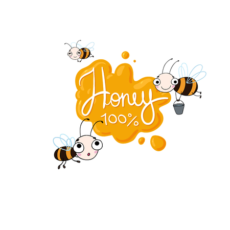 Set with cute cartoon bees. Vector illustration. lettering Honey . Natural healthy food production. Vettoriali