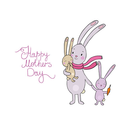 mother s day: Family of cute cartoon rabbits. Funny animals. isolated objects on white background. Vector illustration. Happy mother s day Illustration