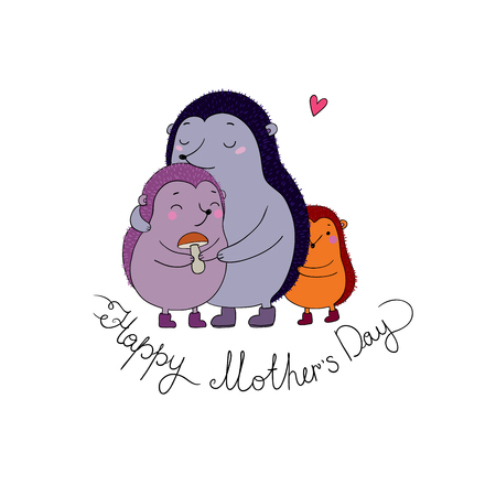 children s feet: Family cute hedgehogs. Mom and kids. Cartoon Animals. Hand drawing isolated objects on white background. Vector illustration. Happy mother s day Illustration