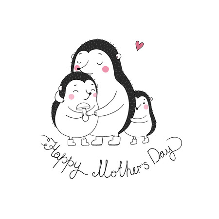 Family cute hedgehogs. Mom and kids. Cartoon Animals. Hand drawing isolated objects on white background. Vector illustration. Happy mother s day Vetores