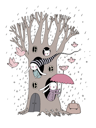 hide and seek: Magic Tree, rabbits and birds. isolated objects on white background. Vector illustration.