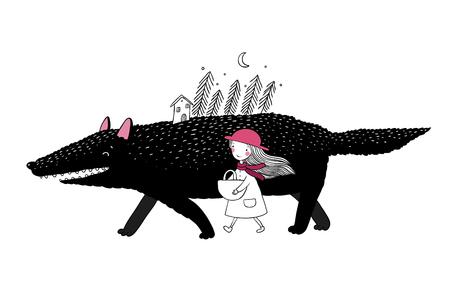 Little Red Riding Hood de conte de fées. Petite fille mignonne et grand loup. forêt de sapin et une petite maison. Dessin à la main des objets sur fond blanc isolé. Vector illustration. Banque d'images - 68661530