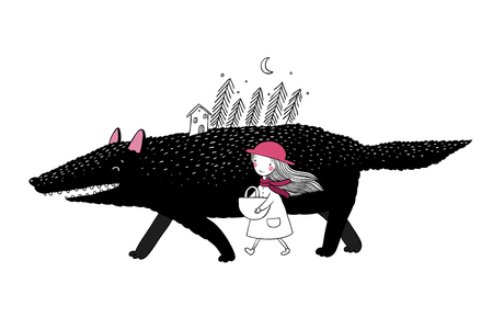 Little Red Riding Hood fairy tale. Little cute girl and big wolf. Fir forest and a small house. Hand drawing isolated objects on white background. Vector illustration. Illustration