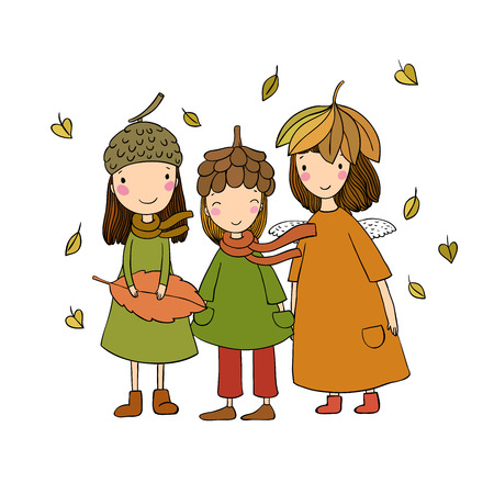 Three small forest fairies in the caps of the cones and leaves. Hand drawing isolated objects on white background. Vector illustration.