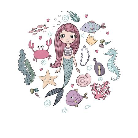 ilustraciones marinos establecen. Pequeña sirena linda del dibujo animado, pescados divertidos, estrellas de mar, una botella con una nota que, algas, varias conchas y cangrejos. el tema del mar. objetos aislados sobre fondo blanco. Vector. Ilustración de vector