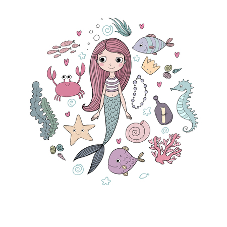Marine illustrations set. Little cute cartoon mermaid, funny fish, starfish, bottle with a note, algae, various shells and crab. Sea theme. isolated objects on white background. Vector. Vector Illustration