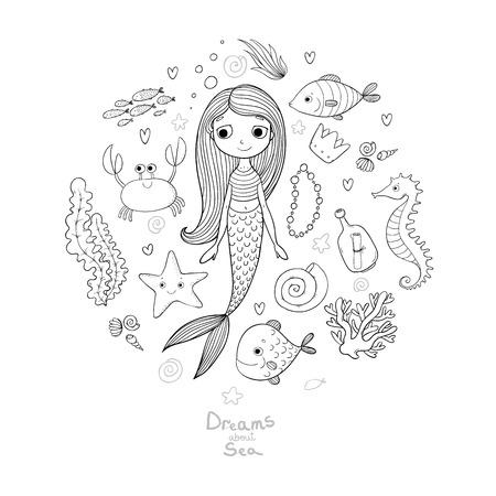 海洋のイラスト セット。小さなかわいい漫画人魚、面白い魚、ヒトデ、瓶注、藻類、様々 な貝やカニ。海のテーマ。白い背景の上の孤立したオブジ