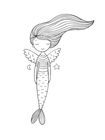 Cute little mermaid with wings. Siren. Sea theme. vector illustration