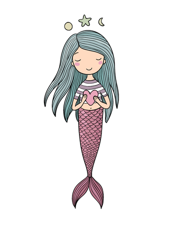 Cute little mermaid with heart. Siren. Sea theme. vector illustration on a white background. Illustration
