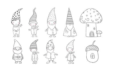 Conjunto de gnomos lindos de la historieta. duendes divertidos. Dibujo a mano aislado objetos sobre fondo blanco. Ilustración del vector. Libro de colorear