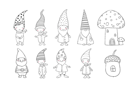 Set of cute cartoon gnomes. Funny elves. Hand drawing isolated objects on white background. Vector illustration. Coloring book Vettoriali