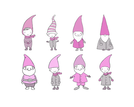 Set of cute cartoon gnomes. Funny elves. Hand drawing isolated objects on white background. Vector illustration. Coloring book Illustration