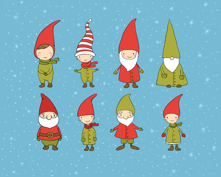 Set of cute cartoon gnomes. Funny elves. Hand drawing isolated objects on white background. Vector illustration. Coloring book Vectores