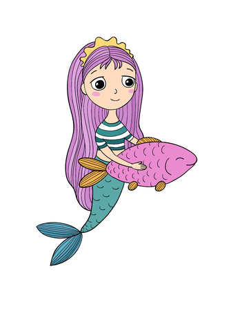 Beautiful little mermaid and fish. Siren. Sea theme.Hand drawn vector illustration on a white background. Illustration