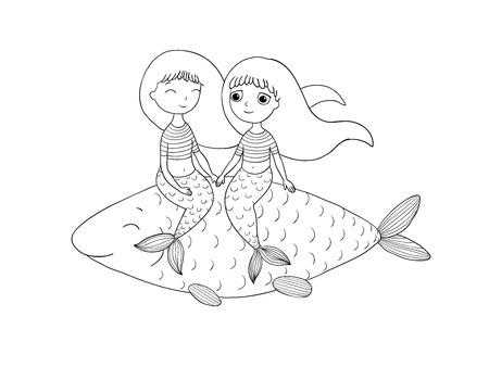 Beautiful little mermaid and fish. Siren. Sea theme.Hand drawn vector illustration on a white background. Illustration