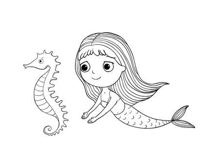 Cute cartoon mermaid and sea horse. Siren. Sea theme. Hand drawing isolated objects on white background. Vector illustration. Coloring book  イラスト・ベクター素材