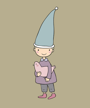Cute little gnome and bird. vector illustration. Funny elves.