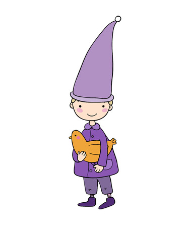 Cute little gnome and bird. vector illustration on a white background. Funny elves. Illustration