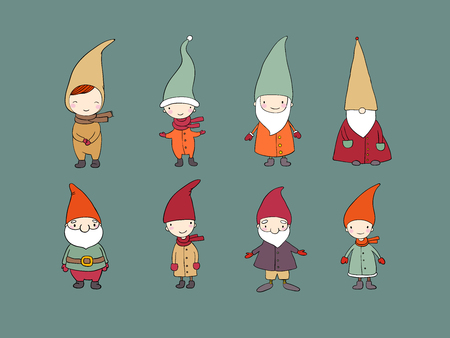 Set of cute cartoon gnomes. Funny elves. Vector illustration. Illustration