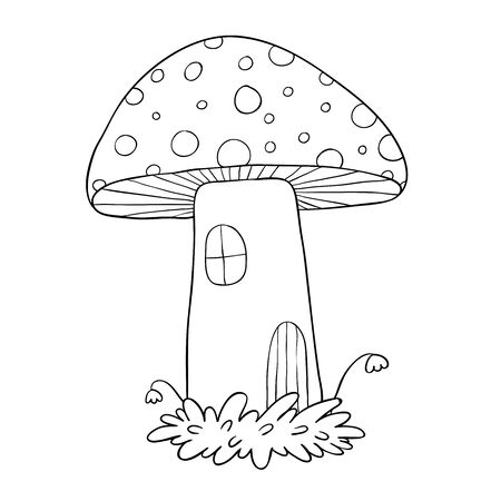 House for gnomes. Fly Agaric Mushrooms.