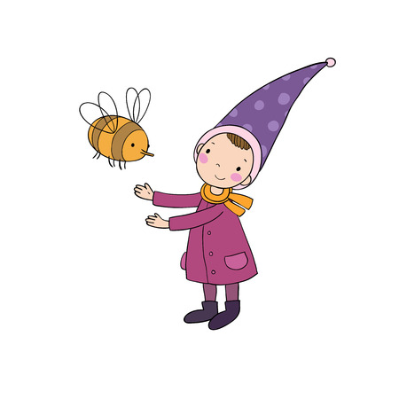 gnomos: Cute little gnome and a bumblebee. isolated objects on white background. Vectores