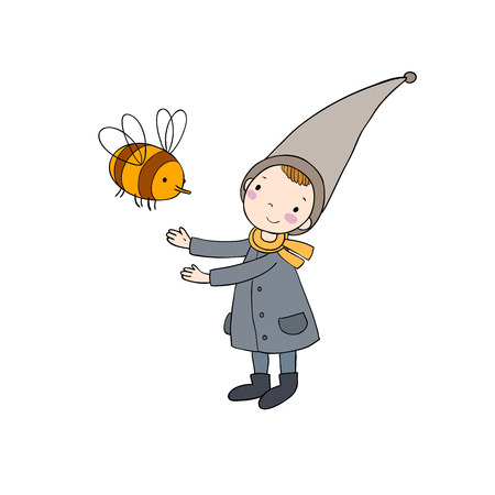Cute little gnome and a bumblebee. isolated objects on white background. Illustration
