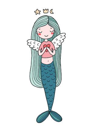 Hermosa Pequeña Sirena. Sirena. Tema Del Mar. Ilustraciones ...
