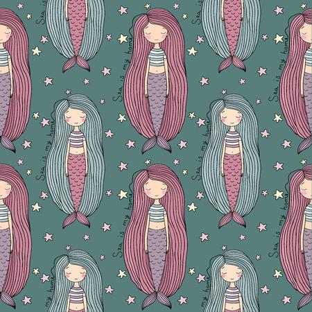 fish tail: Pattern with cute little mermaid. Siren. Sea theme. Illustration