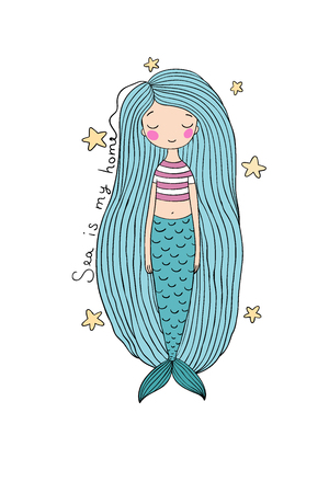 fish tail: Beautiful cute cartoon mermaid with long hair. Siren. Sea theme. Illustration