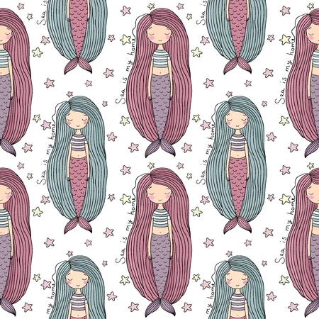 Pattern with cute little mermaid. Siren. Sea theme. Illustration