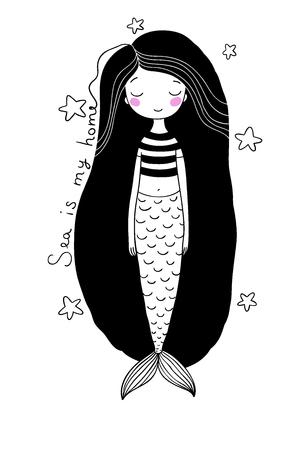 fish tail: Beautiful little mermaid. Siren. Sea theme.