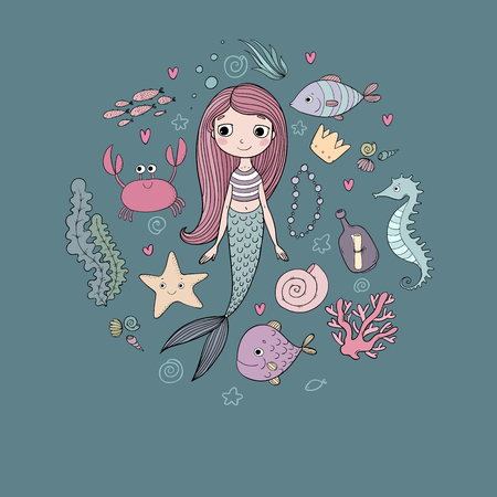 Marine illustrations set. Little cute cartoon mermaid, funny fish, starfish, bottle with a note, algae, various shells and crab. Sea theme.