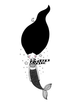 Beautiful cute cartoon mermaid with long hair. Siren. Sea theme. Illustration