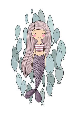 Beautiful little mermaid and a flock of fish. Siren. Sea theme. Illustration