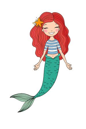 Hermosa pequeña sirena. Sirena. Tema del mar.