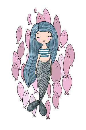 Beautiful little mermaid and a flock of fish. Siren. Sea theme. Vettoriali