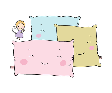 Beautiful pillows and cute little angel.