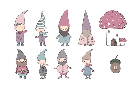 Set of cute cartoon gnomes. Illustration