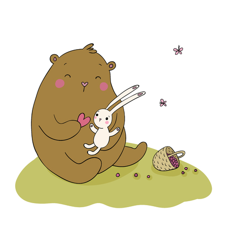 cute bear: Lovely cartoon bear and hare. Basket with berries. Happy animals.