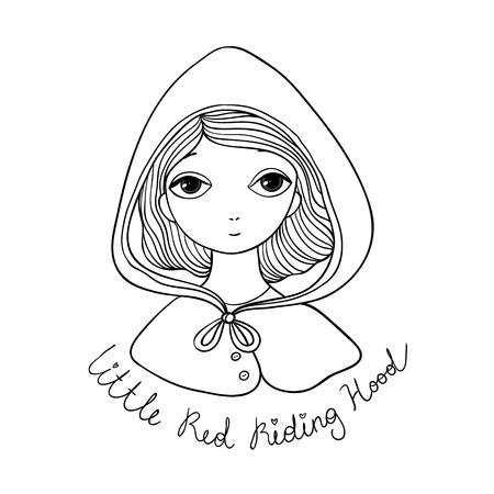 A cute little girl. Czerwona Kapturek baśniowy. Ilustracje wektorowe
