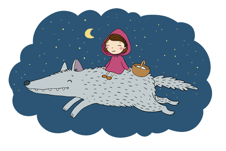 fur hood: Little cute girl and a wolf.