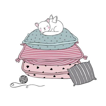 美しい枕と白い背景の上の猫