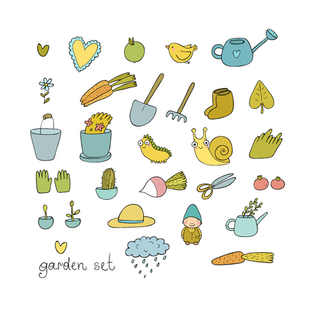 Set of garden objects. Plants, pots and tools for gardening. Vegetables and insects. Illustration
