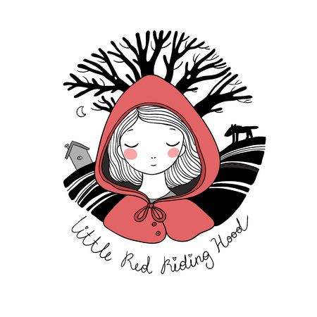 A cute little girl. Red Riding Hood fairy tale.